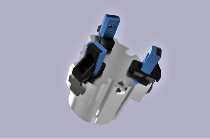 Render 3D výkresu uchopovací čelisti pro kobota Universal Robot – Mirex3D tisk Kladno